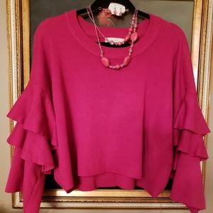 🤩Gorgeous ELODIE Tight knit ruffle sleeve sweater